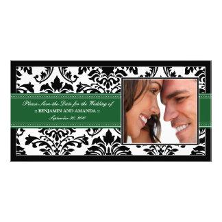 Elegant Damask Save-the-Date Photocard: green Card