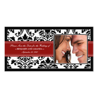 Elegant Damask Save-the-Date Photocard: red Card