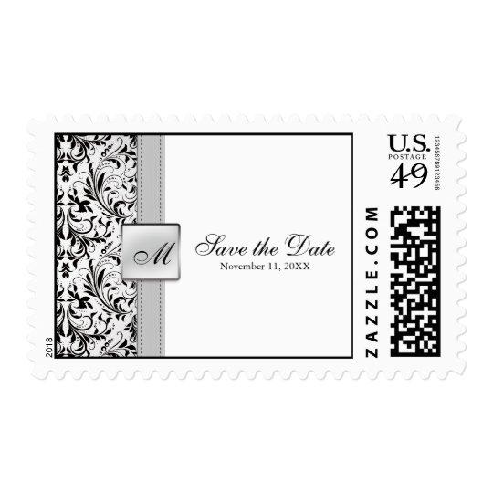 Elegant Damask 'save the date' Wedding Postage