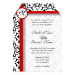 Elegant Damask Side Borders Red Trim Wedding Personalized Announcement
