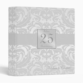 Elegant Damask Silver Anniversary Wedding Binder