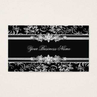 Elegant Damask Silver Black Jewel Look Image Business Card