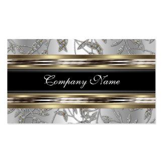 Elegant Damask Silver Pewter Chrome Metal Black Double-Sided Standard Business Cards (Pack Of 100)