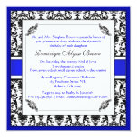 "Elegant Damask Swirl Invite [Blue] 5.25"" Square Invitation Card"