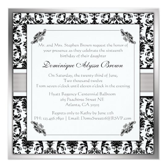 Elegant Damask Swirl Invite [Silver]