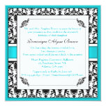 "Elegant Damask Swirl Invite [Teal] 5.25"" Square Invitation Card"