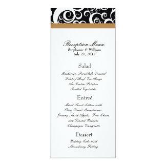 Elegant Damask Swirls Reception Menu in Hazelnut Card