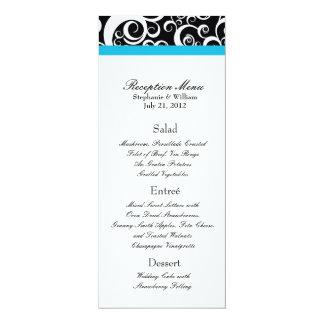 Elegant Damask Swirls Reception Menu in Turquoise Card