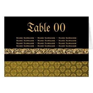 Elegant damask table number card