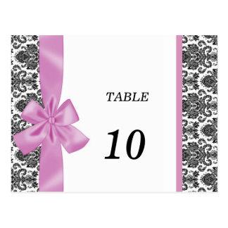 Elegant Damask Table Number Postcard