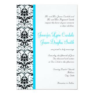 Elegant Damask Teal Blue Stripe Wedding Invitation