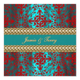 Elegant Damask Teal Red Gold Wedding Invite