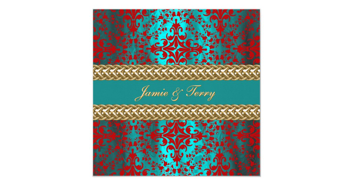 Teal And Red Wedding Invitations & Announcements | Zazzle