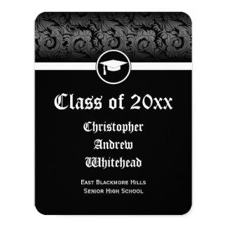 Elegant Damask Traditional/College Graduation Card