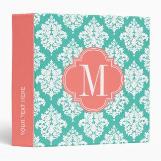 Elegant Damask Turquoise & Coral Custom Monogramme Vinyl Binder