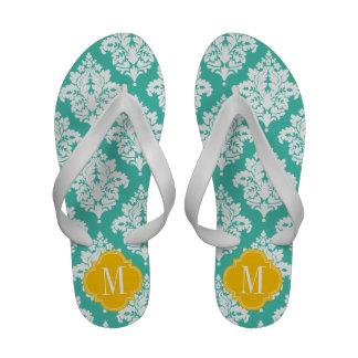 Elegant Damask Turquoise Yellow Custom Monogramm Flip-Flops