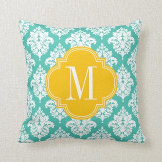 Elegant Damask Turquoise & Yellow Custom Monogramm Throw Pillows