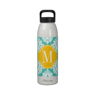Elegant Damask Turquoise Yellow Custom Monogramm Water Bottle