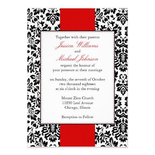 "Elegant Damask Wedding 5"" X 7"" Invitation Card"