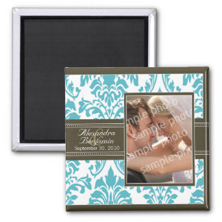 Elegant Damask Wedding Favor Magnet: aqua/brown 2 Inch Square Magnet