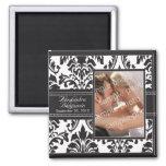 Elegant Damask Wedding Favor Magnet: black/white 2 Inch Square Magnet