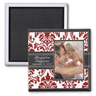 Elegant Damask Wedding Favor Magnet: red/black 2 Inch Square Magnet