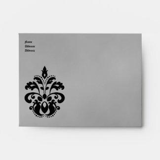 Elegant damask wedding in black and gray A2 Envelope