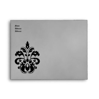 Elegant damask wedding in black and gray A2 Envelopes