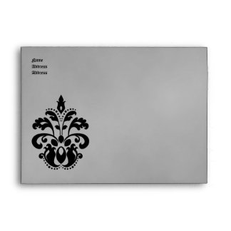 Elegant damask wedding in black and gray A7for 5x7 Envelope