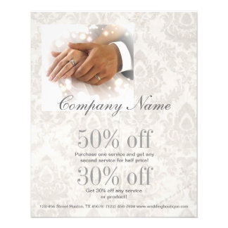 elegant damask wedding planner business flyer