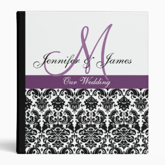 Elegant Damask Wedding Planner Plum Purple Binders
