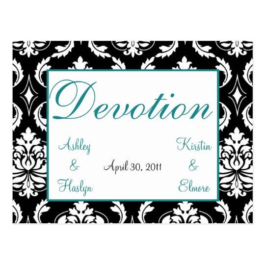 Elegant Damask Wedding Table Names Cards Devotion