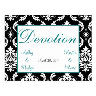 Elegant Damask Wedding Table Names Cards Devotion Postcard