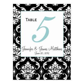Elegant Damask Wedding Table Number Card