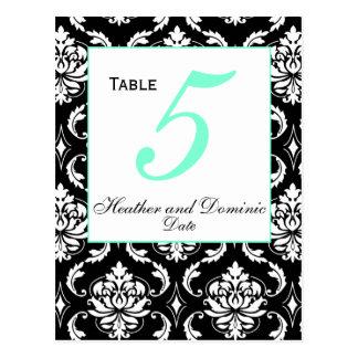 Elegant Damask Wedding Table Number Card 2