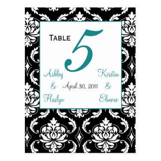 Elegant Damask Wedding Table Number Card Jade