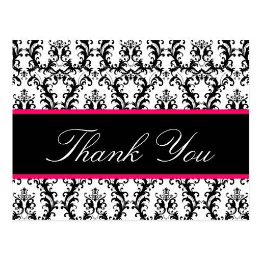 Elegant Damask Wedding Thank You Card Pink Black Postcard