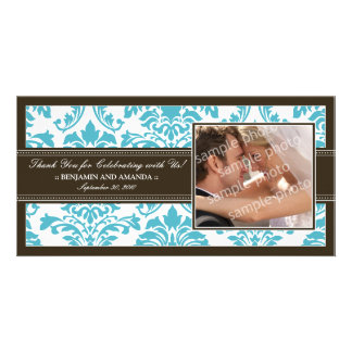 Elegant Damask Wedding Thank You Photocard: aqua Card