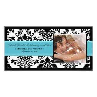 Elegant Damask Wedding Thank You Photocard: aqua Photo Card