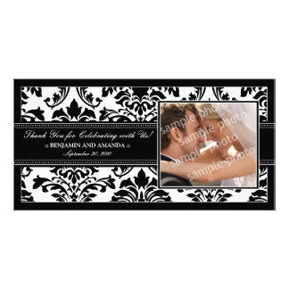 Elegant Damask Wedding Thank You Photocard: black Card