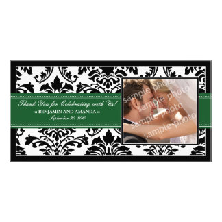 Elegant Damask Wedding Thank You Photocard: green Card