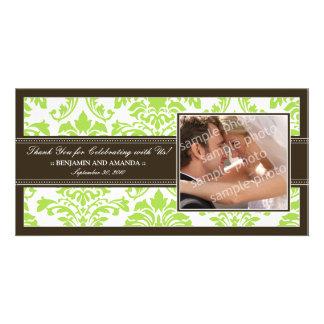 Elegant Damask Wedding Thank You Photocard: lime Photo Cards