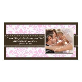 Elegant Damask Wedding Thank You Photocard: pink Personalized Photo Card