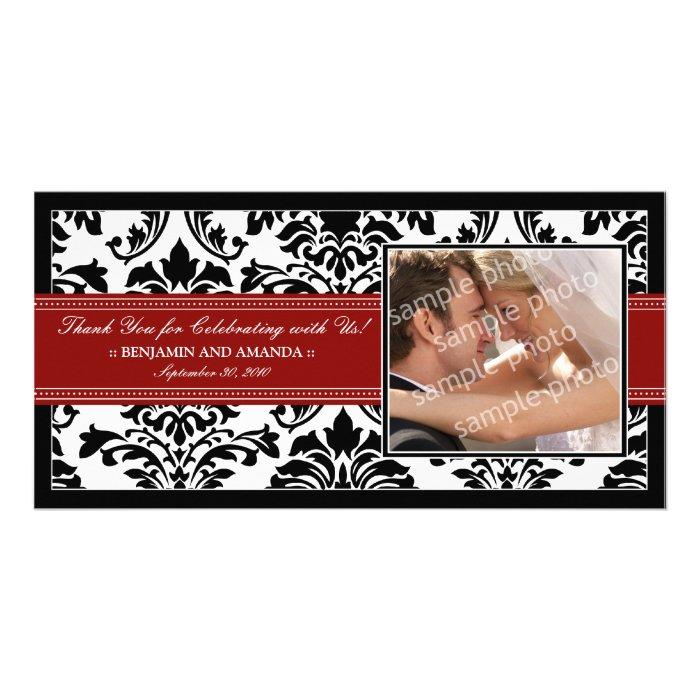 Elegant Damask Wedding Thank You Photocard: red Card