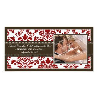 Elegant Damask Wedding Thank You Photocard: red Photo Card