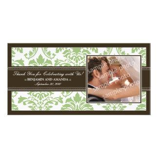 Elegant Damask Wedding Thank You Photocard: sage Personalized Photo Card