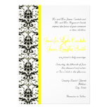 Elegant Damask Yellow Stripe Wedding Invitation