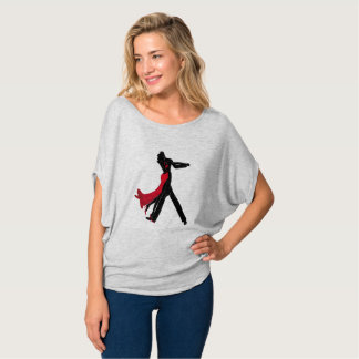Elegant Dancers In Red and Black Flowing T-Shirt