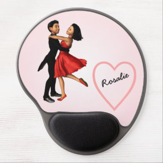 Elegant Dancers: Red Silk Dress (Personalized) Gel Mouse Pad