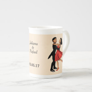Elegant Dancers: Red Silk Dress (Personalized) Tea Cup